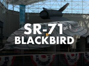 SR-71 Blackbird text with aircraft behind