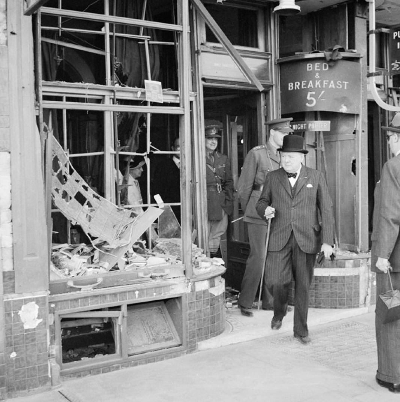 Churchill serveys damage done by Luftwaffe bombers